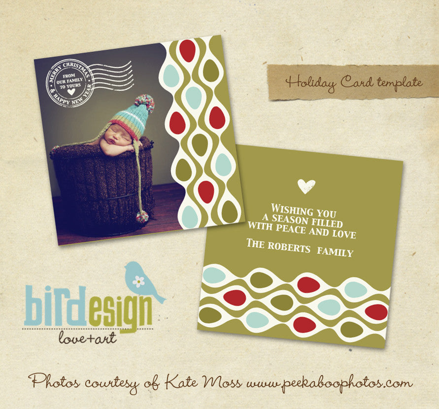 Holiday Photocard Template | Retro Christmas