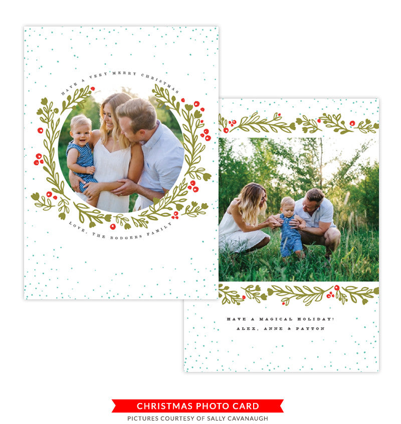 Christmas Photocard Template | Holly Berries
