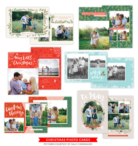 Christmas Photocards Bundle | Floral Christmas