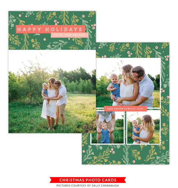 Christmas Photocard Template | Green Christmas