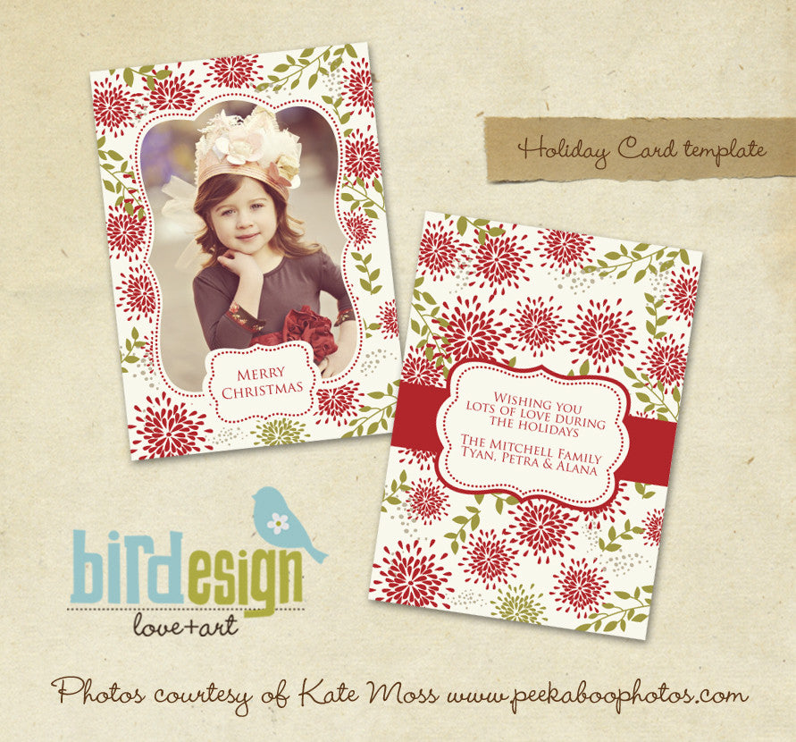 Holiday Photocard | Sweet Flowers portrait