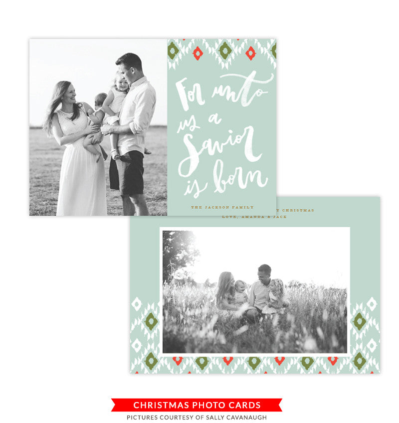 Christmas Photocard Template | a Savior is born