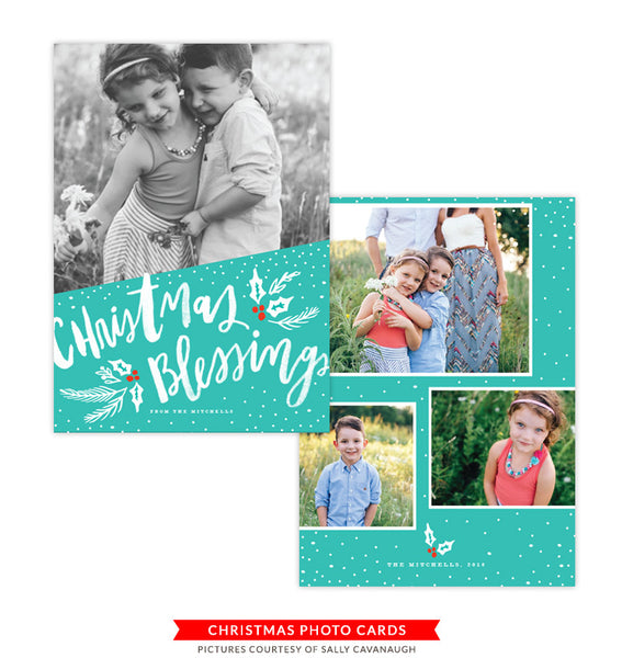 Christmas Photocard Template | Teal Christmas