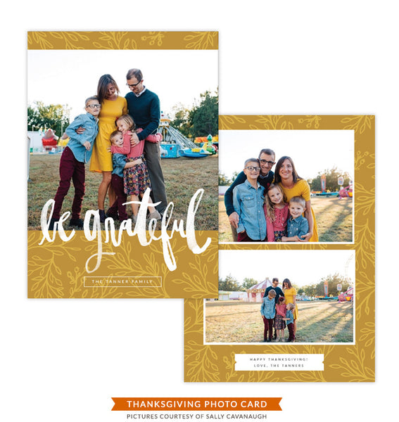 Thanksgiving Photocard Template | Be Grateful