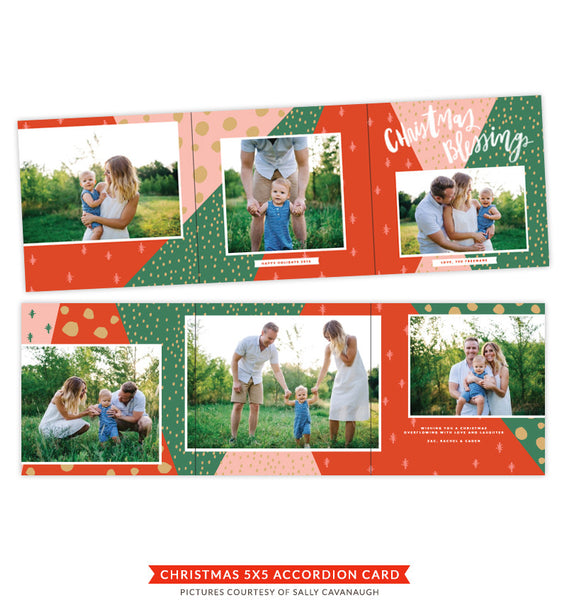 Christmas accordion card 5x5 | Mistletoe and Wine