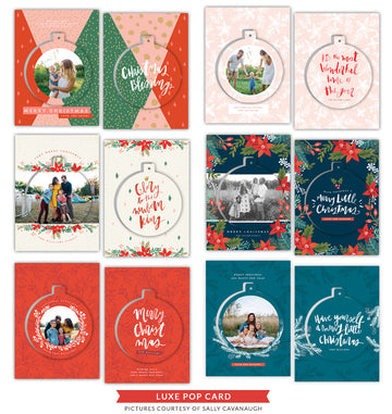 Christmas Luxe Pop Cards Template Bundle | Little Drummer