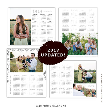 8x10 2019 calendars template set | White calendars