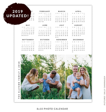 8x10 2019 calendar template | Green and clean
