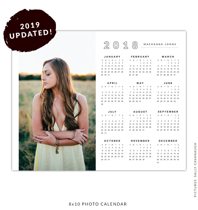 8x10 2019 calendar template | Simple portrait
