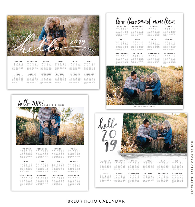 8x10 2019 calendars template set | Timeless