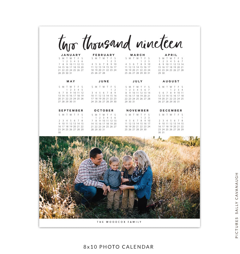 8x10 2019 calendar template | Two thousand