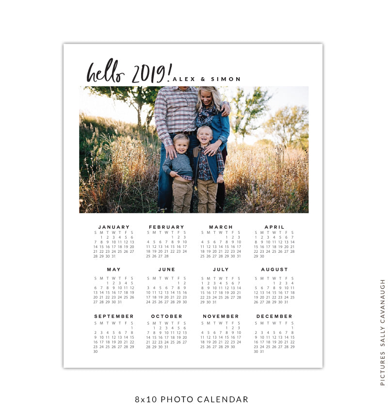 8x10 2019 calendar template | Black brushes
