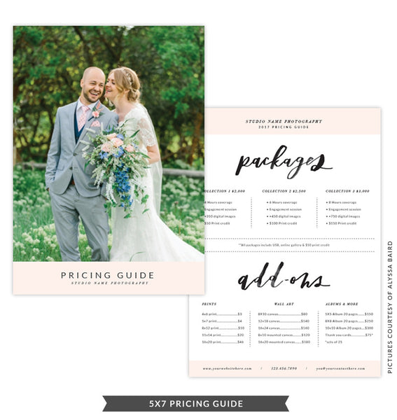 5x7 Pricing Guide Template | Modern Peach