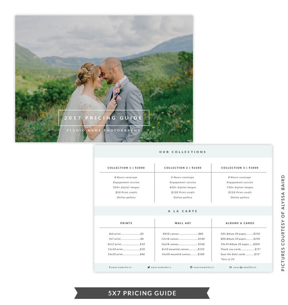 5x7 Pricing Guide Template | Natural Look
