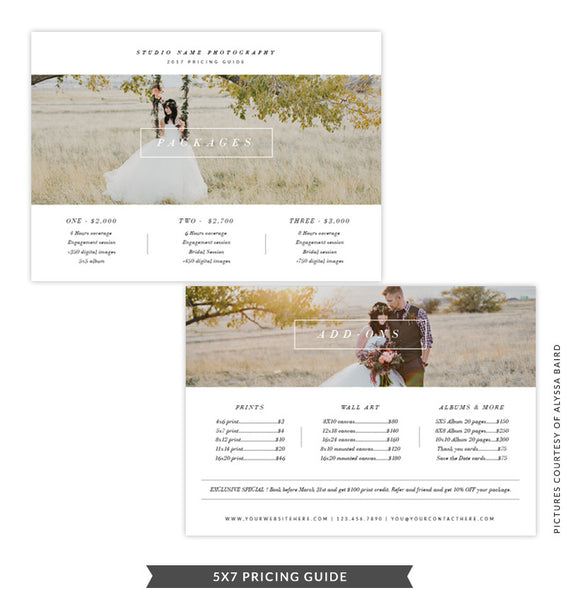 5x7 Pricing Guide Template | Landscape Minimalist