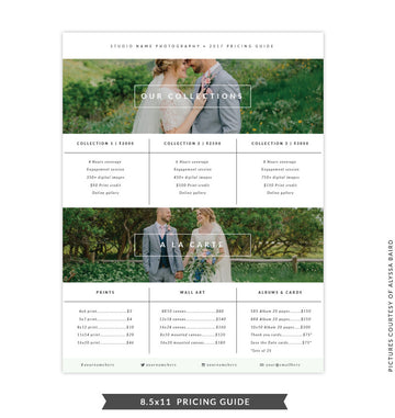 8.5x11 Pricing Guide Template | Natural Look
