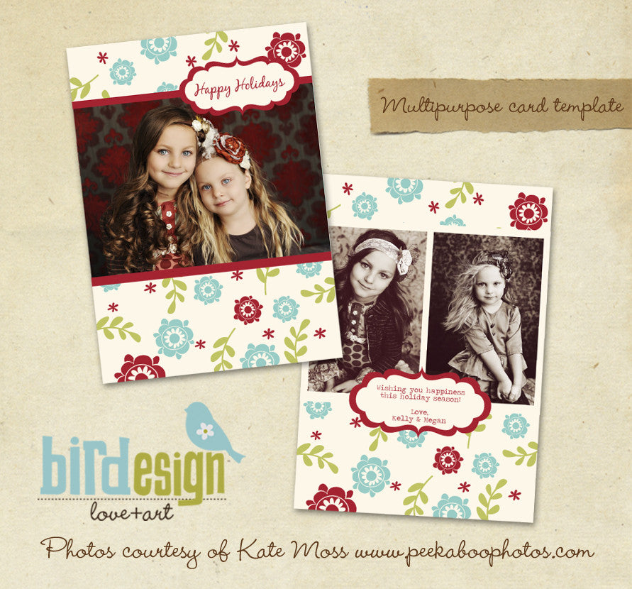 Holiday Photocard | Floral Greeting