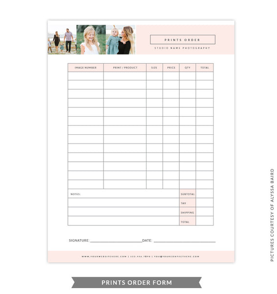 8.5x11 Prints Order Form Template | Peach Prints Order