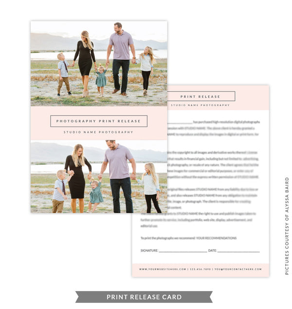 5x7 Print Release Form Template | Peach Print Release