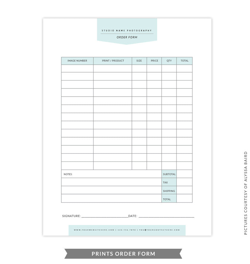 8.5x11 Prints Order Form Template | Green Prints Order  Product Order Form Template