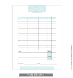8.5x11 Prints Order Form Template | Green Prints Order