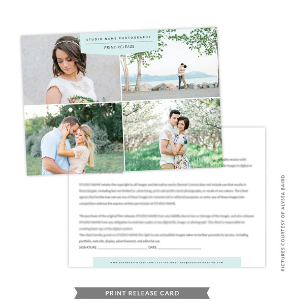 5x7 Print Release Form Template | Green Print Release