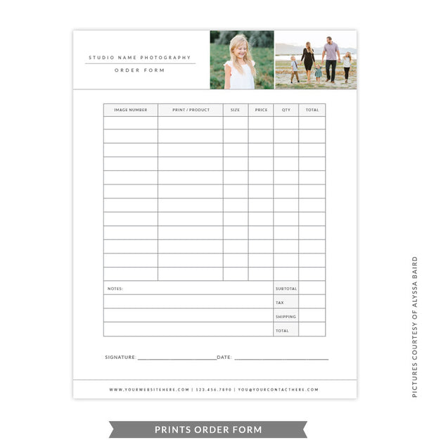 8.5x11 Prints Order Form Template | Gray Prints Order