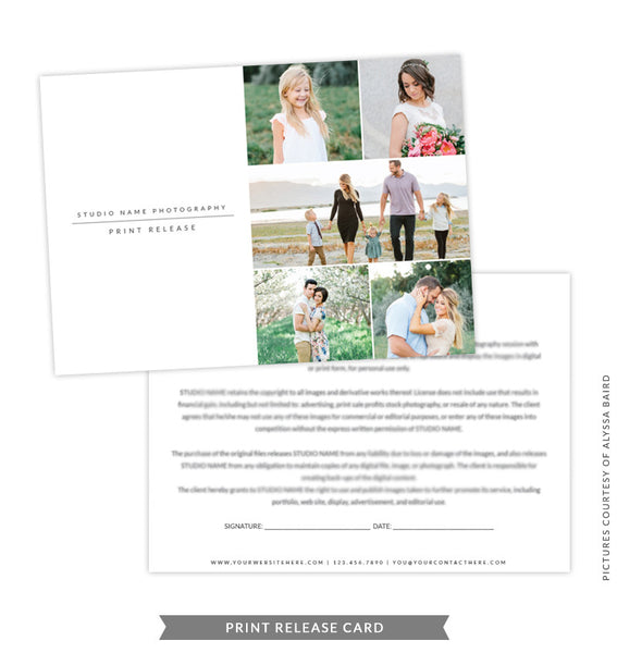 5x7 Print Release Form Template | Gray Print Release