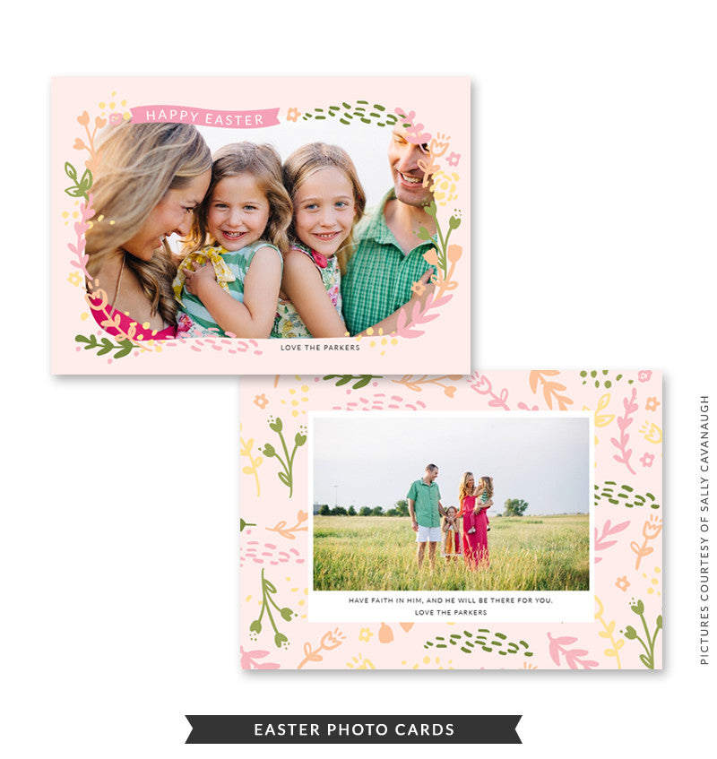 5x7 Easter Photo Card | Easter Leaves