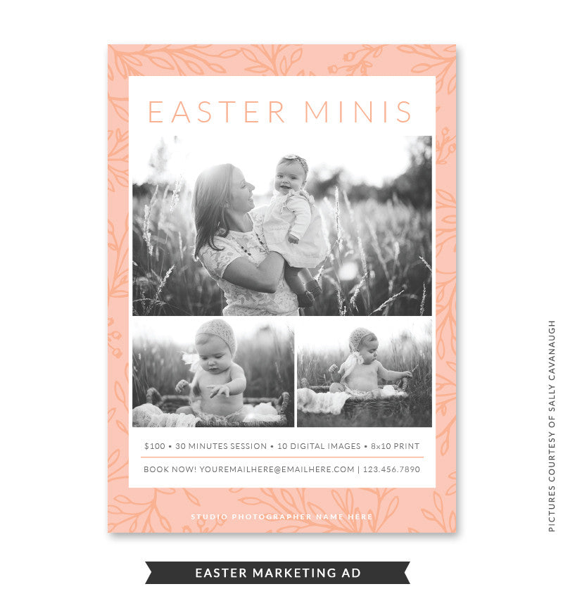 5x7 Easter Marketing Ad | Peach Easter Minis