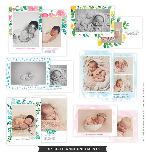 5x7 Birth Announcements Bundle | Floral Joy