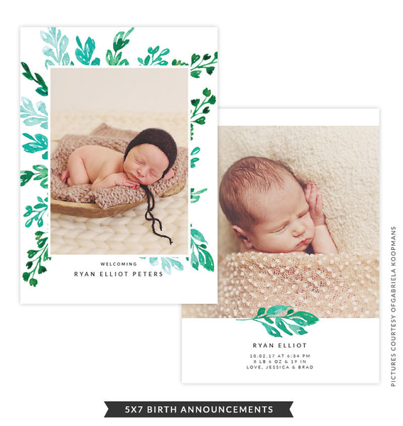 5x7 Birth Announcement | Green Brush