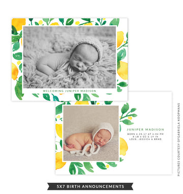5x7 Birth Announcement | Lemon Laugh
