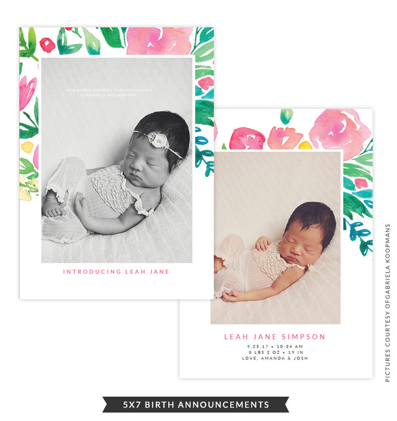 5x7 Birth Announcement | Floral Thoughts