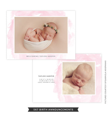 5x7 Birth Announcement | Pink Smile