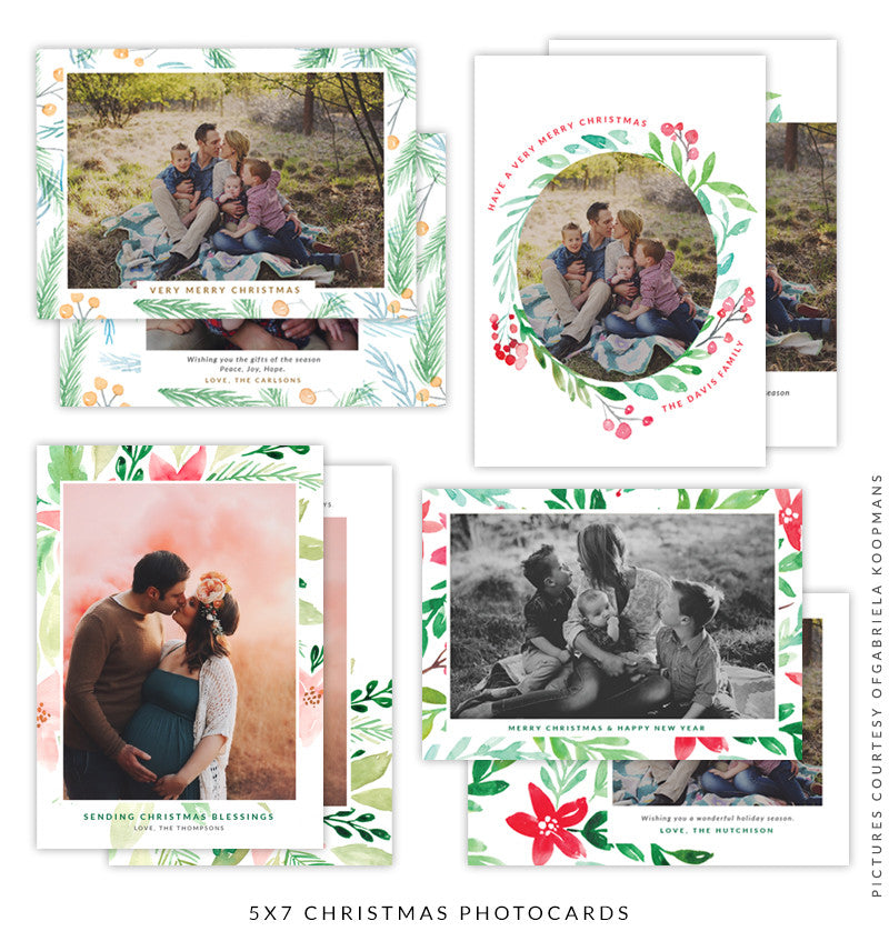 Christmas 5x7 Photo Card Bundle | White Roses