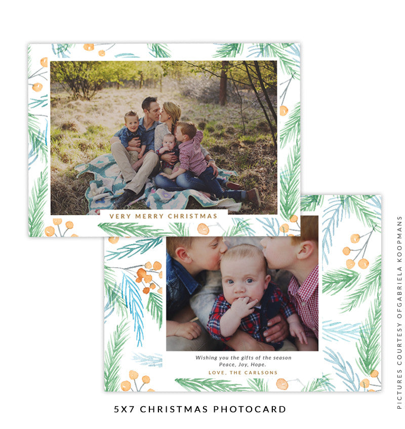 Christmas 5x7 Photo Card | Christmas Rose