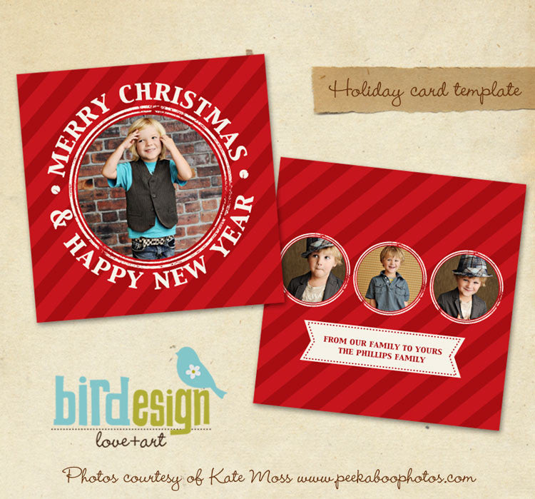 Holiday Photocard Template | Red candy
