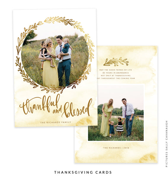 Thanksgiving Photocard Template | Golden Garden