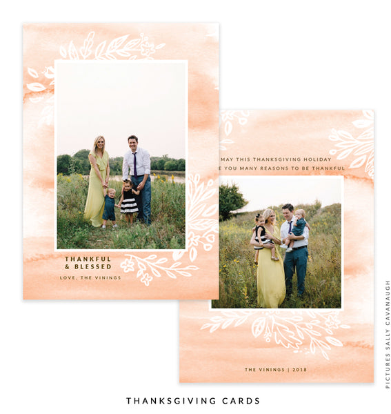 Thanksgiving Photocard Template | Peach Beauty