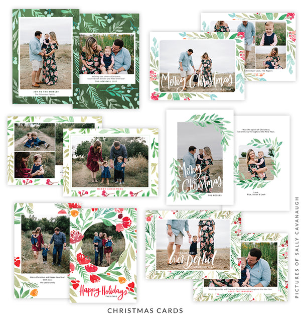Christmas 5x7 Photo Card Bundle | Wonderful Florals
