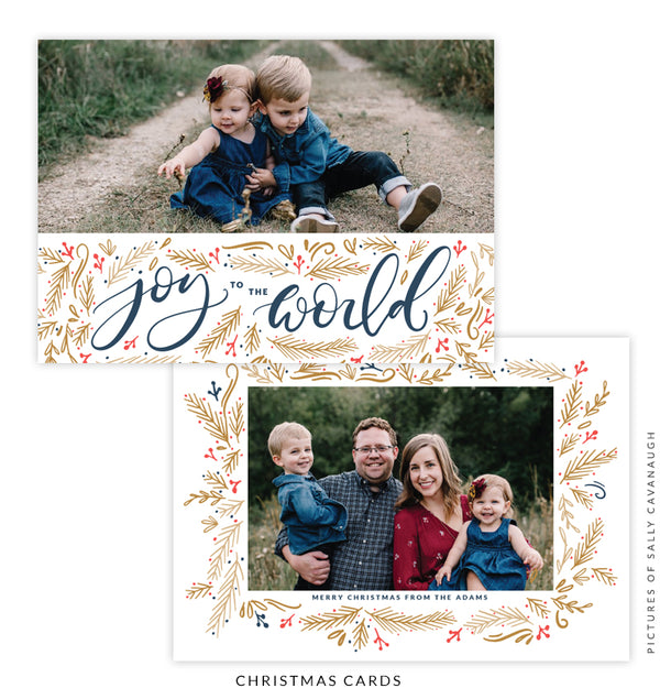 Christmas 5x7 Photo Card | Golden Sleigh