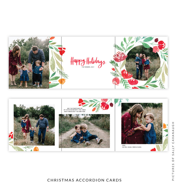 Holiday accordion card 5x5 | Happy florals