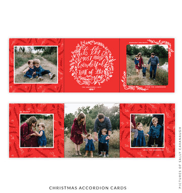 Holiday accordion card 5x5 | Wonderful lettering