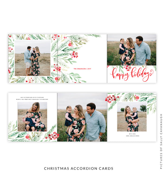 Holiday accordion card 5x5 | Happy mistletoe