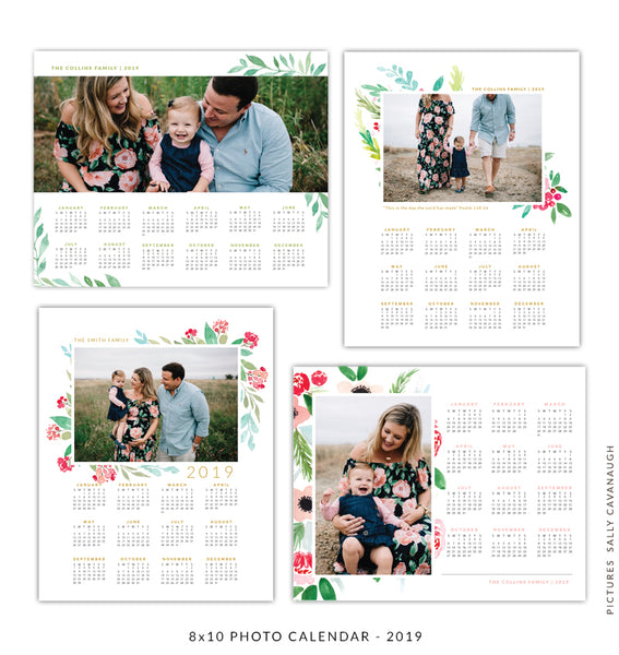 8x10 2019 calendars template set | Family gardens