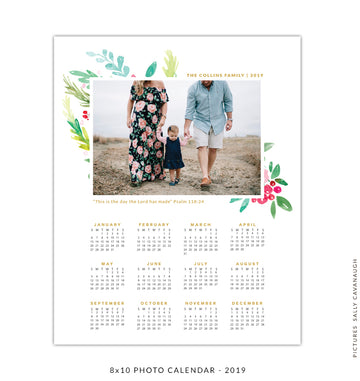 8x10 2019 calendar template | Watercolor garden