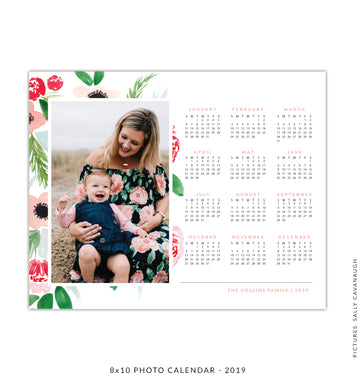 8x10 2019 calendar template | Flowers love