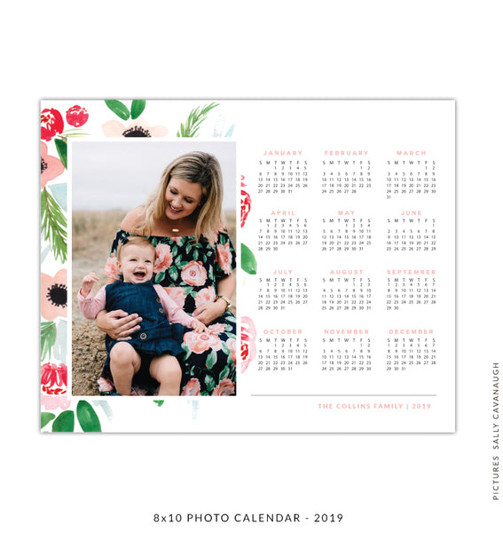 8x10 2018 calendar template | Flowers love
