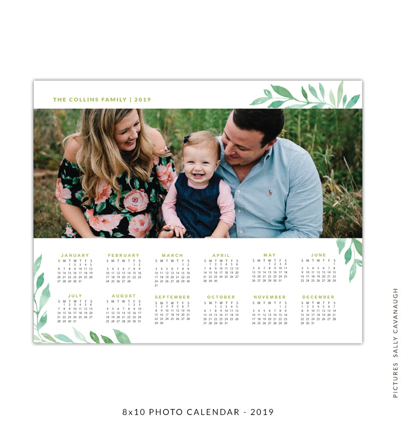 8x10 2019 calendar template | Green crown